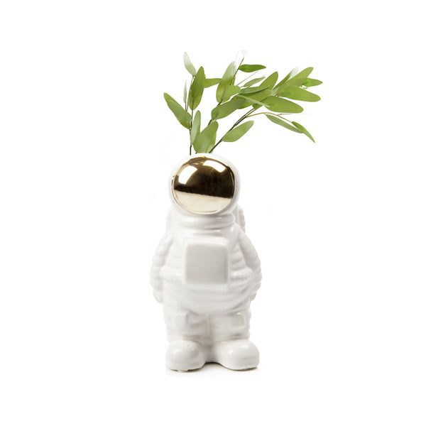 Yuri the Astronaut Vase - shown with plant