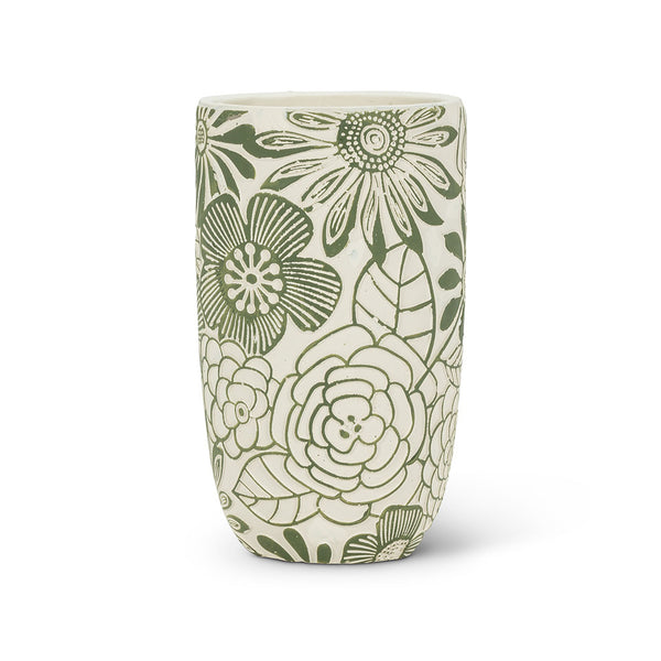 Textured Floral Cement Vase - Small
