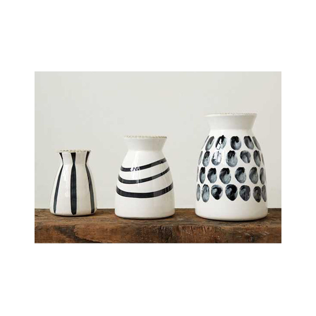 Black & White Graphic Stoneware Vases