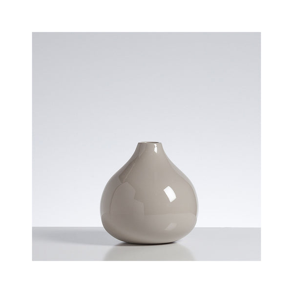 Lacquered Bamboo Gourd Vase - Short - Warm Grey
