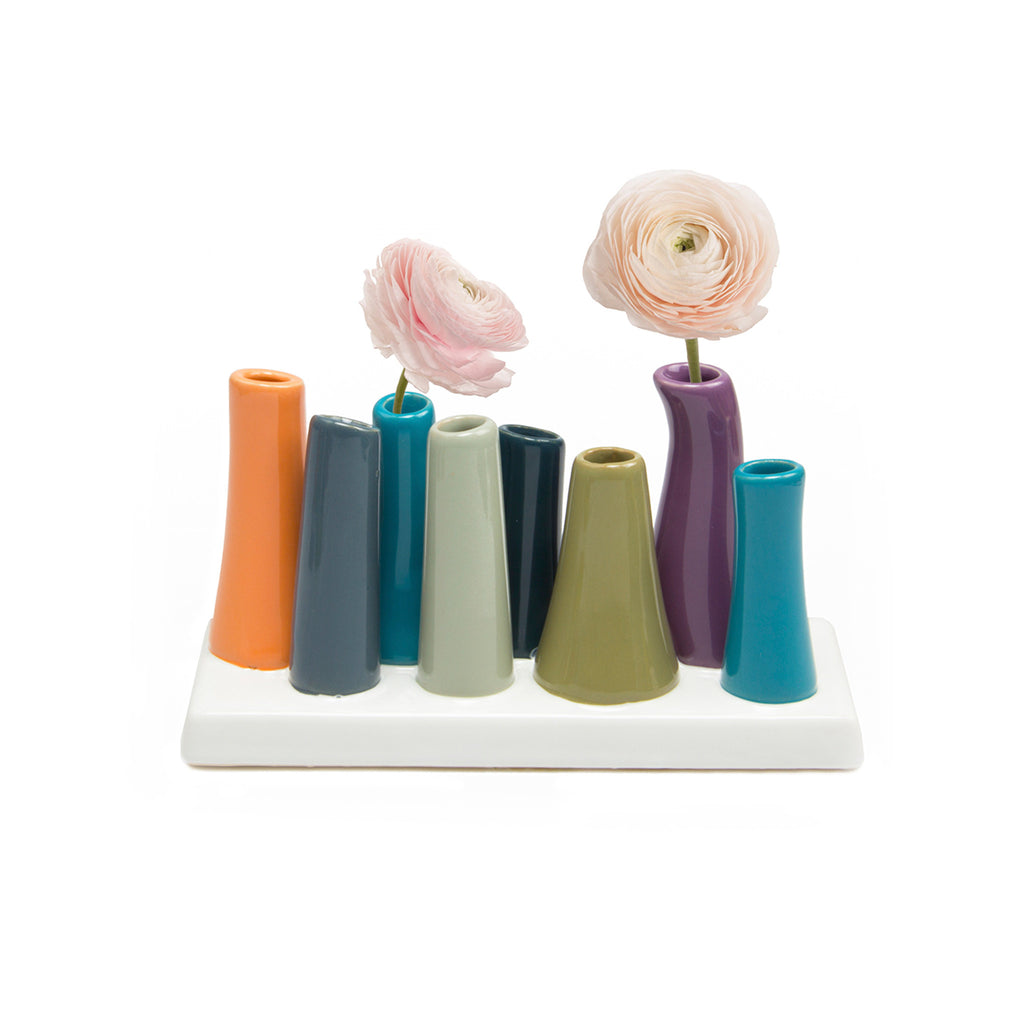 Pooley 2 Tube Vase - Peach