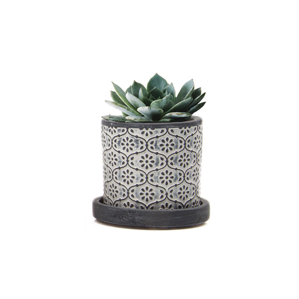 Balter Planter - Black Flowers