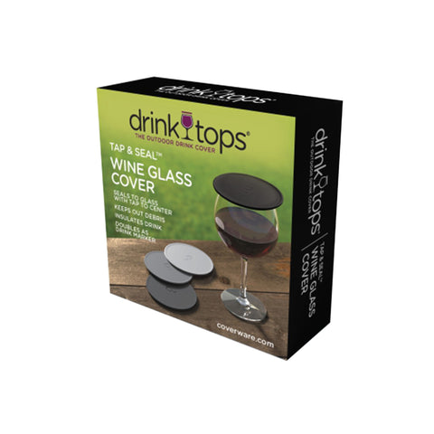 Drink Tops Tap & Seal Wine Glass Cover Set of 4