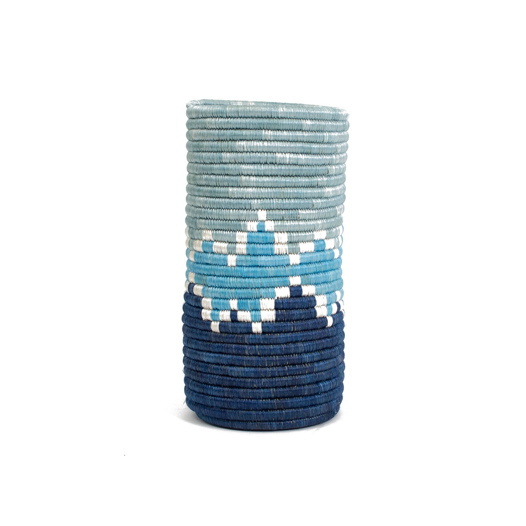 Handwoven Cylindrical Vase - Silver Blue Bahari