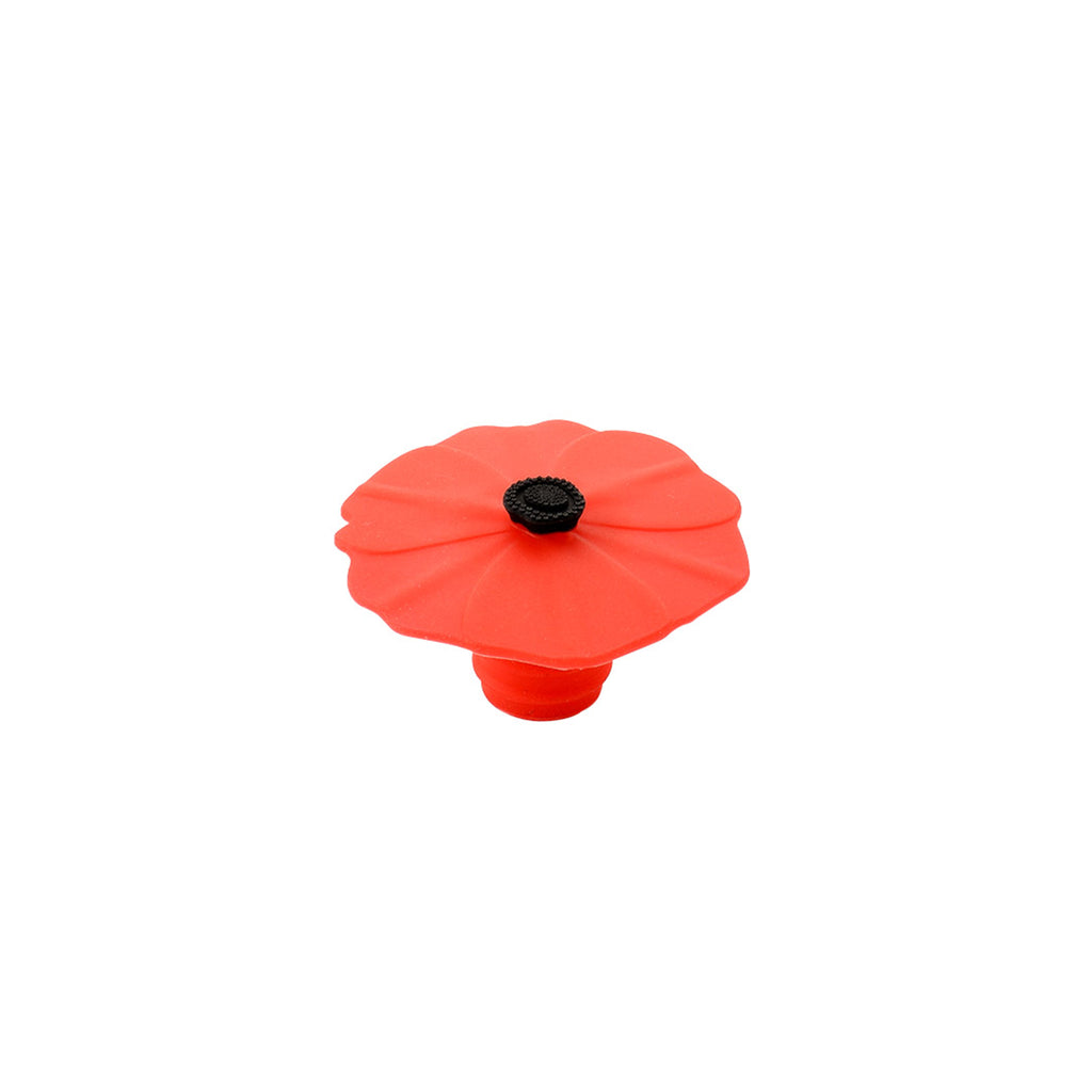 Silicone Bulb Bottle Stopper - Red Poppy