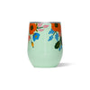 Corkcicle Stemless - Rifle Paper - Lively Floral - Mint - Back