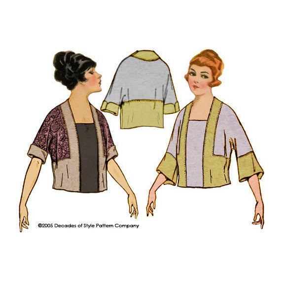 illustration of 1920s blouse with kimono sleeve