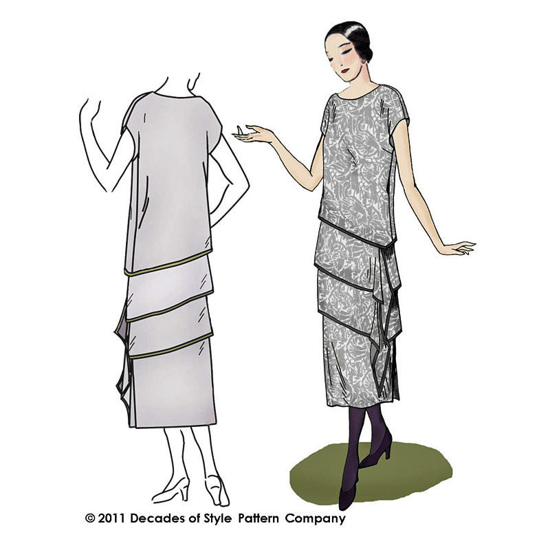 illustration for sewing pattern for 1920s dress ensemble from Decades of Style #2004