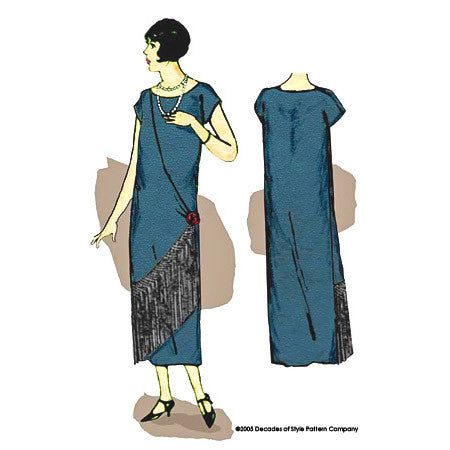 illustration for 1920s sewing pattern for dress with fringe from Decades of Style #2501
