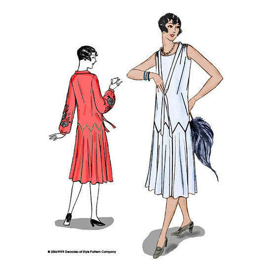 illustration for 1925 sewing pattern for dress from Decades of Style Pattern Company