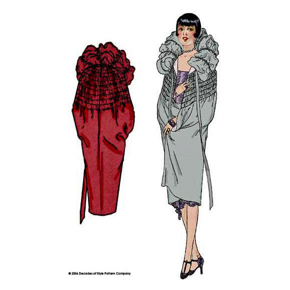 illustration for 1920s sewing pattern for shirred cloak from Decades of Style