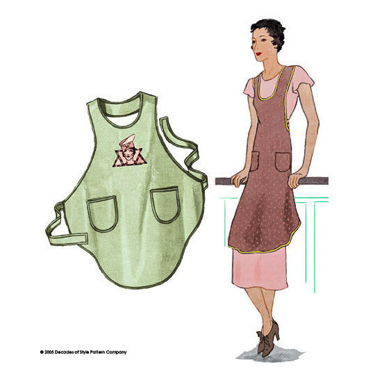illustration for Sewing pattern for 1920s vintage apron from Decades of Style Pattern Company