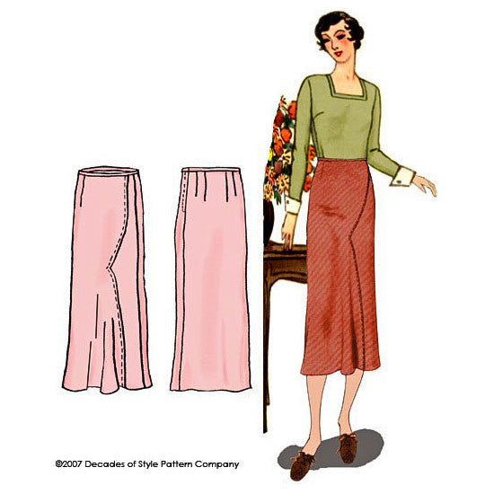 illustration for Vintage sewing pattern for 1930s Calf length skirt with shaped seam joining skirt front pieces from Decades of Style