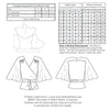 technical info for for Vintage pattern for 1930s Blouse with butterfly sleeve from Decades of Style