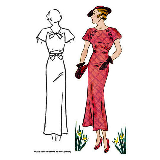 illustration for Vintage pattern for 1930s Dress with raglan sleeves from Decades of Style