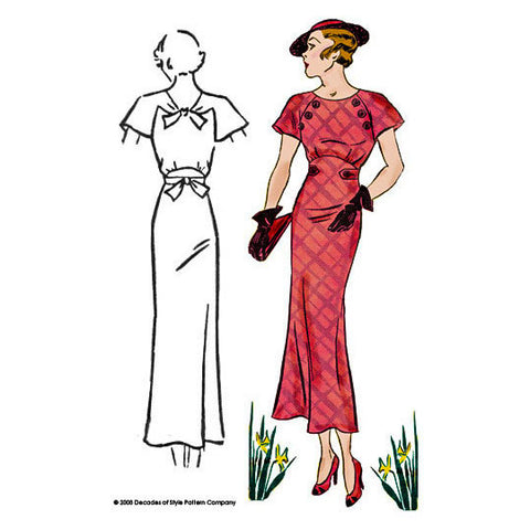 #3007    1930s Button Dress