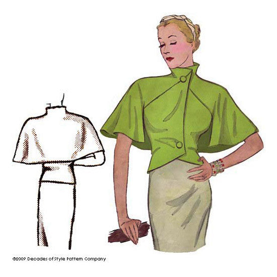 illustration for Vintage sewing pattern for 1930s Capelet from Decades of Style