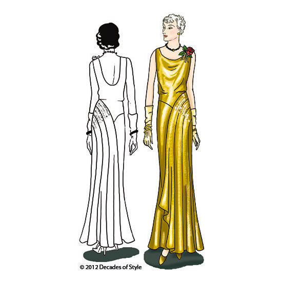 illustration for Vintage sewing pattern for 1930s evening gown from Decades of Style