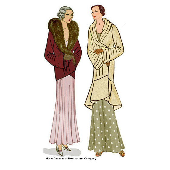 illustration for Vintage sewing pattern for 1930s couture coat from Decades of Style