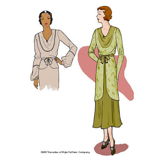 illustration for 1930s vintage patterrn for Cowl neck blouse from Decades of Style