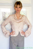 photo front view of illustration for 1930s vintage patterrn for Cowl neck blouse from Decade with short peplum