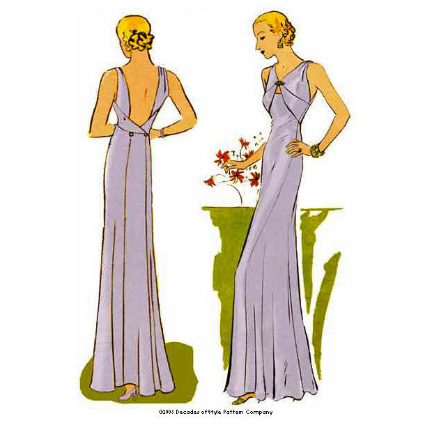 illustration for Vintage sewing pattern for 1930s Evening gown with pieced bodice from Decades of Style