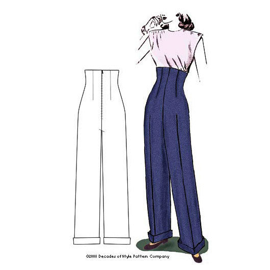 illustration for 1940s Empire Waist Trousers pattern