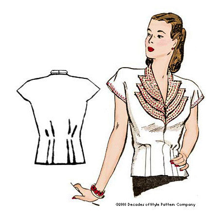 illustration for 1940s Girl Friday Blouse pattern