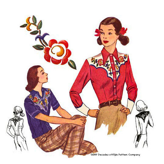 illustration for 1940s ladies western shirt pattern