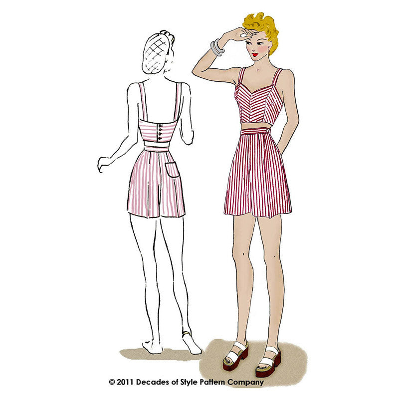 illustration for 1940s Boardwalk Duet sewing pattern