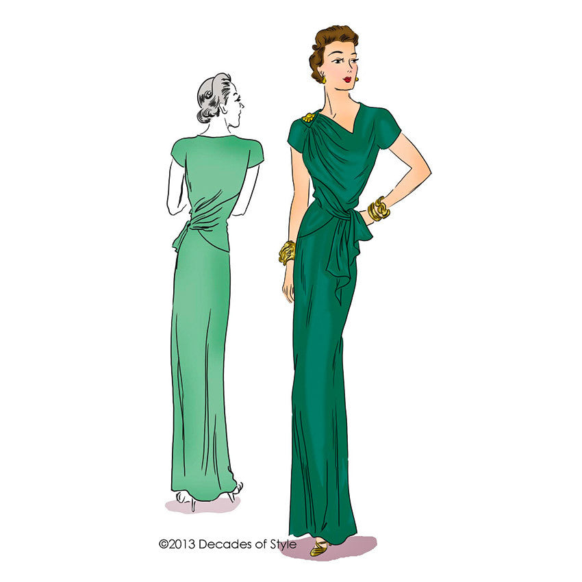 illustration for 1940s Point Made Gown sewing pattern Decades of Style