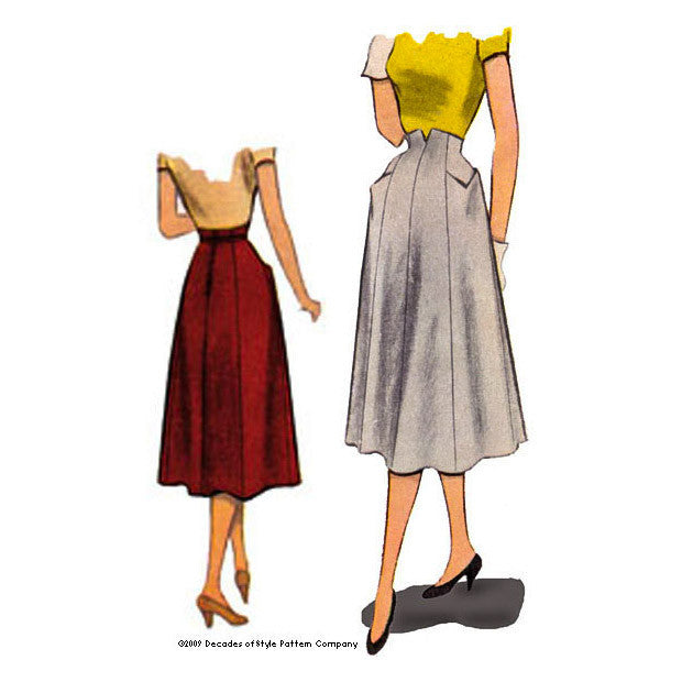 illustration for 1950s Gourmet Skirt sewing pattern from Decades of Style