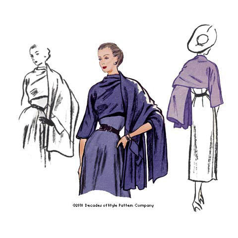 illustration for 1950s Stole sewing pattern from Decades of Style Company
