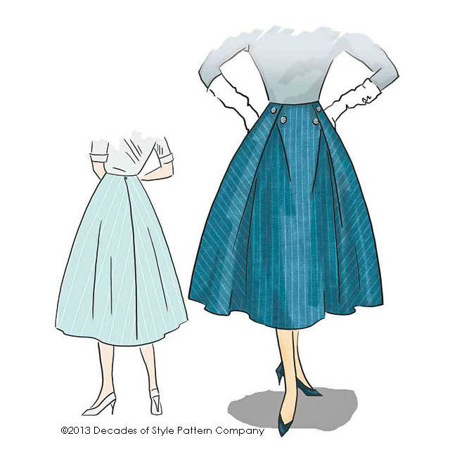 illustration for 1950s PB&J Skirt pattern from Decades of Style