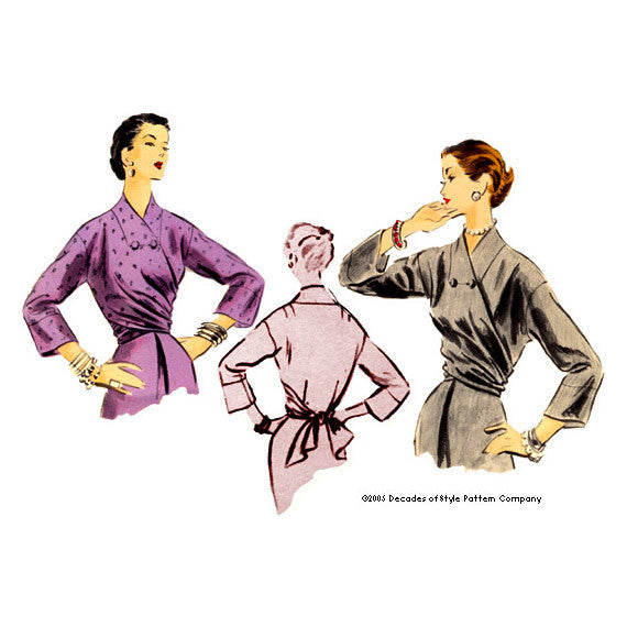 illustration for 1950s Wrap Blouse sewing pattern from Decades of Style