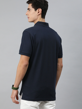 Load image into Gallery viewer, Men Navy Blue Solid Pure Cotton Polo Collar T-shirt