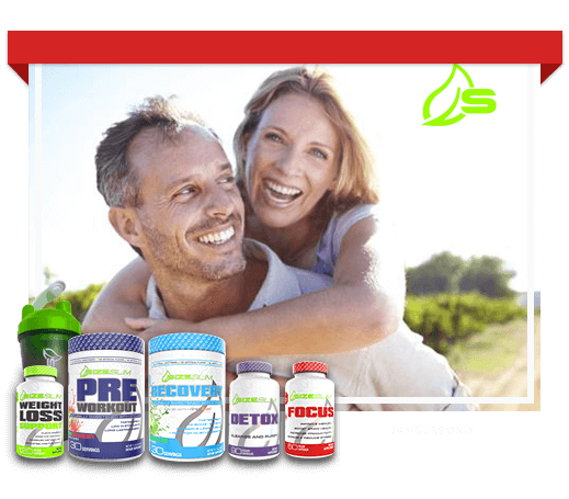man and woman happily smiling with weight loss support, focus, detox, preworkout, recovery, size slim products in picture