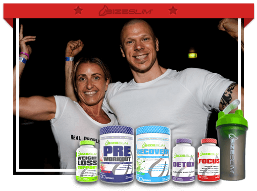 strong man and woman happily smiling with weight loss support, focus, detox, preworkout, recovery, a shaker size slim products in picture