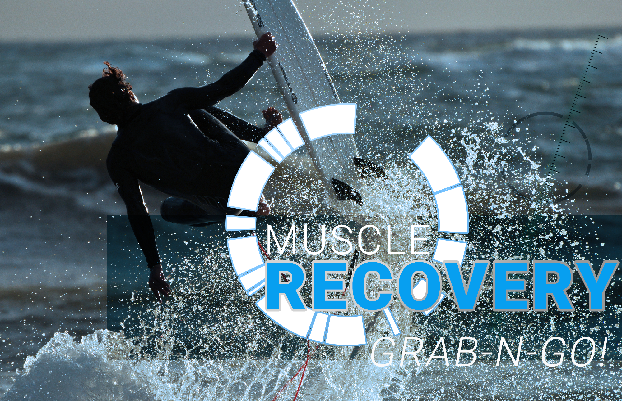 guy crashing on a surfboard who would need to recover after a fitness event