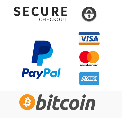 bitcoin, paypal, visa, mastercard, or american express payment acceptance