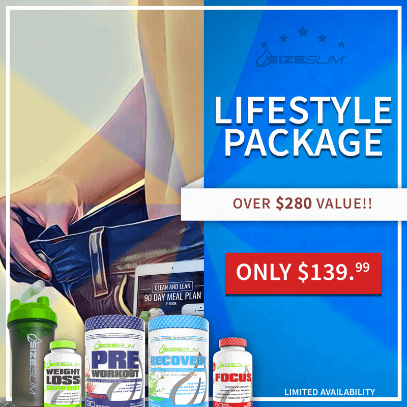 lifestyle package of weight loss support, focus, recovery, preworkout