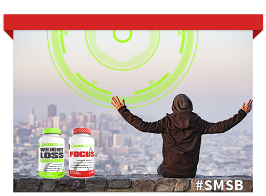 man rejoicing with hands outstretched over San Francisco. Weight loss support bottle and Mental Focus bottle by size slim and the #SMSB in the stone