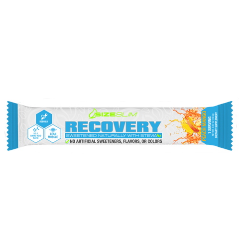 Single packet of Peach Mango muscle recovery drink mix loaded with HICA and BCAAs