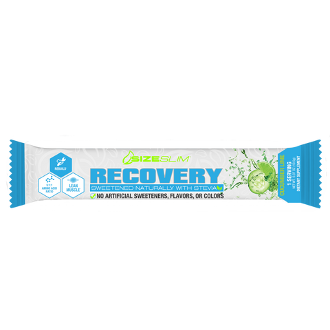 Single packet of Cucumber and Lime muscle recovery drink mix loaded with HICA and BCAAs
