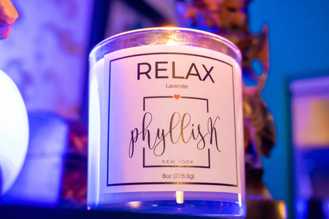 Relax Scented Soy Candle by PhyllisK New York 8oz