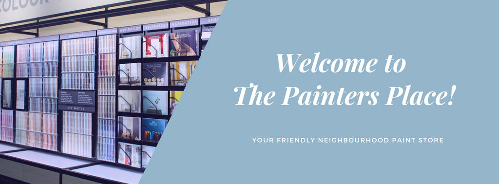"banner with photo of wall covered in colour samples and ""welcome to the painters place! your friendly neighbourhood paint store"" on light blue background on the right"