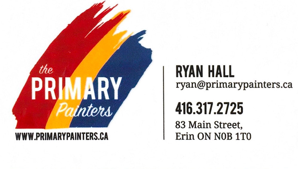 the PRIMARY Painters - www.primarypainters.com - Ryan Hall - ryan@primarypainters.com - 416-317-2725 - 83 Main Street, Erin, ON N0B 1T0