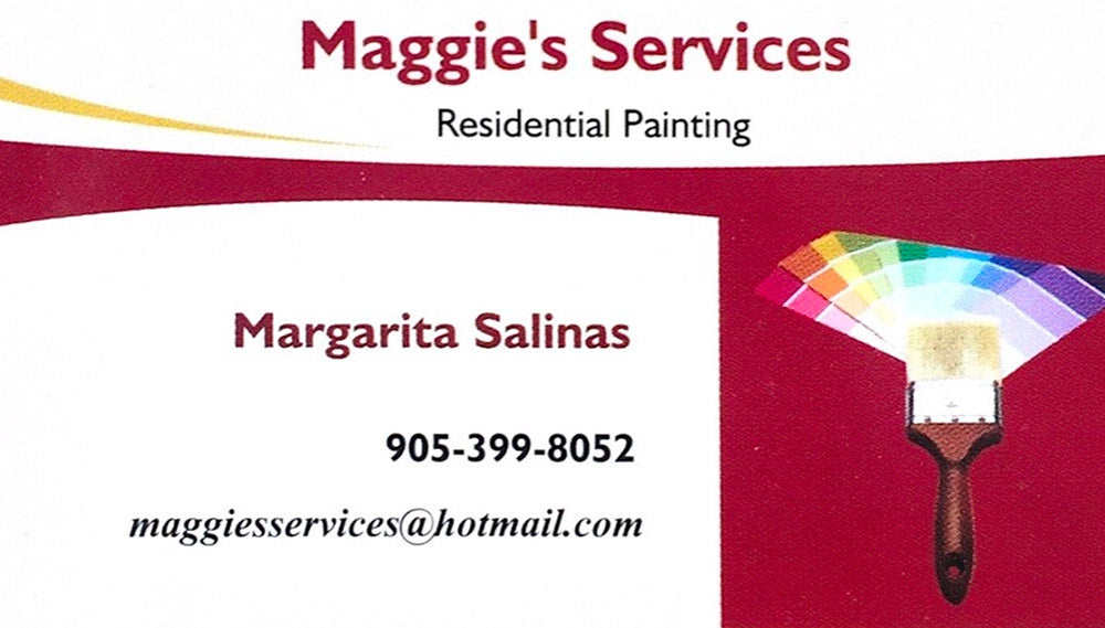 Maggie's Services - Residential Painting - Margarita Salinas - 905-399-8052 - maggiesservices@hotmail.com