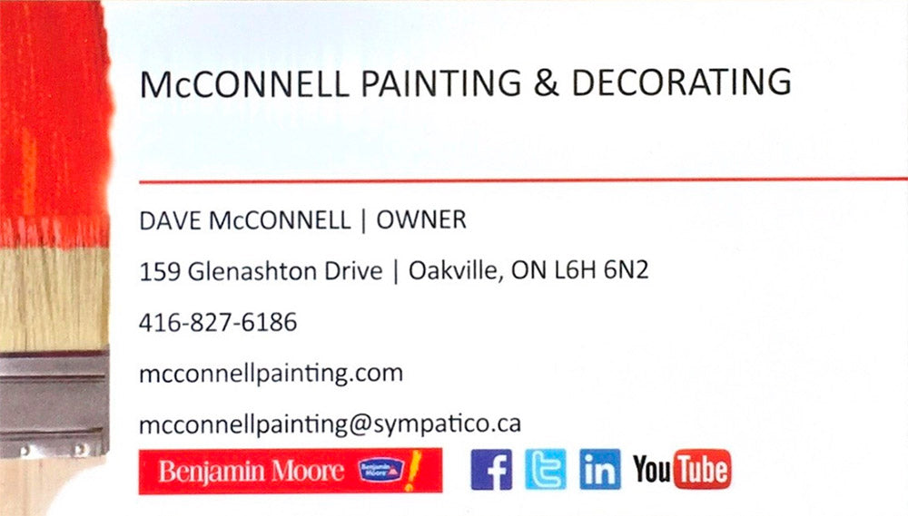 McConnell Painting & Decorating - Dave McConnell | Owner - 159 Glenashton Drive, Oakville, ON L6H 6N2 - 416-827-6186 - mcconnellpainting.com - mcconnellpainting@sympatico.ca