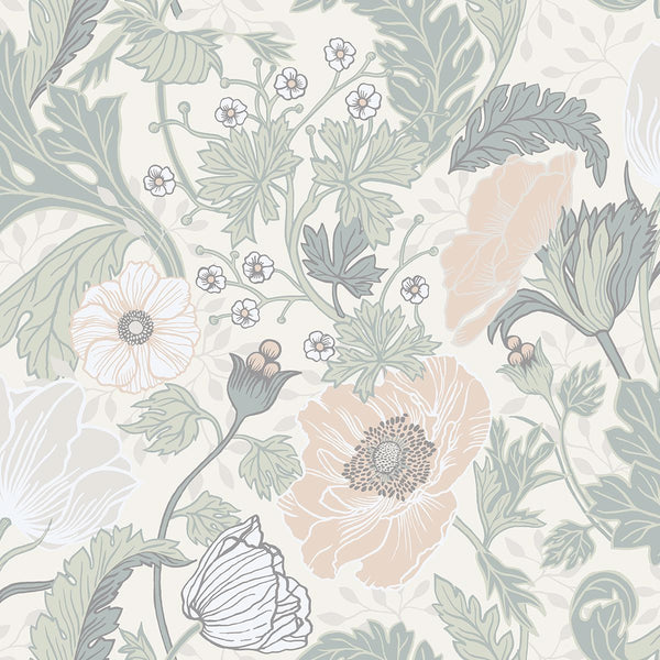 Anemone Light Grey Floral Wallpaper